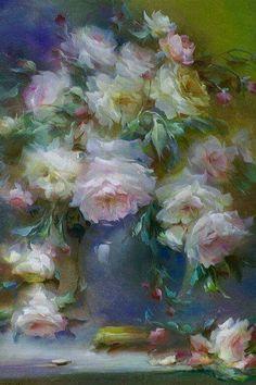 works of Vladimir Babich - 10 Oil Painting Flowers, Abstract Flowers, Watercolor Flowers, Painting & Drawing, Watercolor Paintings, Still Life Flowers, Beautiful Paintings, Painting Inspiration, Flower Art