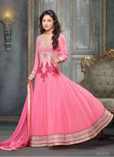 Bottom Fabric Santoon Colour Pink Dupatta Fabric Chiffon Fabric 60gm Georgette Fabric Care Dry Clean Only Inner Fabric Santoon Occasion Party, Festival Shipping time 7 days Size Medium Type Anarkali Suit Work Embroidered