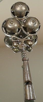 ANTIQUE-STERLING-SILVER-19th-C-VICTORIAN-BABY-RATTLE-AND-WHISTLE-WITH-BELLS