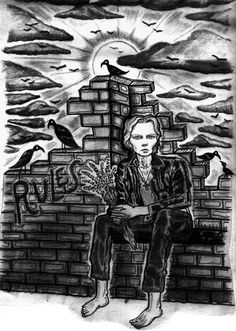 """Vinny Michaud Illustration of Jim Carroll for """"Jim"""". The Poem from """"New Reality"""" the Illustrated Book of Poems & Songs by Poet, Singer Pablo Conejero Lopez. Designed, Illustrated & Produced by Artist Vincent Michaud. Published by The Shakespeare Foundation of Spain. Released at The Hole Gallery NYC. Artist Vinny Michaud Music Art. http://www.vincentmichaud.vision/new-reality-1/"""