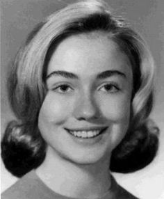 Hillary Clinton - I am obsessed with this 'celebrity yearbook', with awesome high school shots of notables.