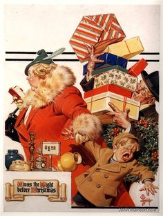 TC Leyendecker - Many people confuse his work with Norman Rockwell but he was a great illustrator on his own right. Peintures Norman Rockwell, Norman Rockwell Art, Norman Rockwell Paintings, Christmas Ad, Vintage Christmas, Xmas, Christmas Shopping, Christmas Artwork, Christmas Scenes