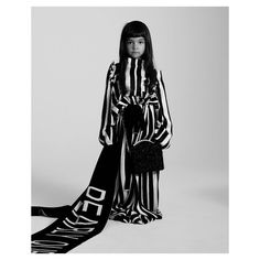 """""""A pyjama stripe is my perfect day-to-night-night look"""" Tallis, 4 Photographed by Toby Coulson. Prince And Princess, Aw17, Night Looks, Playing Dress Up, Kimono Top, Bell Sleeve Top, Pearls, Colour Pop, Color"""