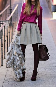 Color pop. {love the booties and fur vest paired with it!}...