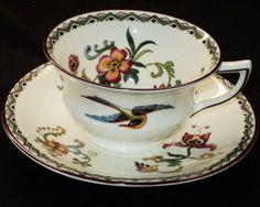 ANTIQUE AYNSLEY ART DECO BIRD WINE c.1905 TEA CUP AND SAUCER 149.00