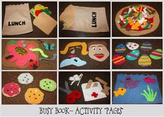 """Felt busy book: """"pages"""" are ziplock bags with play pieces to put on the felt board."""