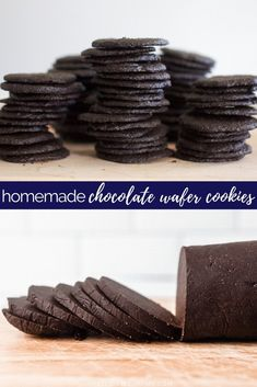 Homemade Chocolate Wafer Cookies: A perfect cookie to use in place of hard-to-find Nabisco Famous chocolate wafer cookies for chocolate cheesecake or pie crust, icebox cakes and cupcakes, sandwich cookies, and crumbling on ice cream! SO EASY! Nabisco Famous Chocolate Wafers, Chocolate Wafer Cookies, Chocolate Pies, Homemade Chocolate, Chocolate Recipes, Chocolate Cheesecake, Crinkle Cookies, Sandwiches, Icebox Cake