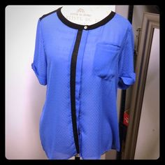 """Selling this """"French Blue color block chiffon blouse"""" in my Poshmark closet! My username is: adarcus. #shopmycloset #poshmark #fashion #shopping #style #forsale #Covet #Tops"""