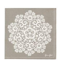 GreenGate Paper Napkins Lace Warm Grey L 20 pieces