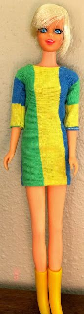 In 1967 (the height of her career) her popularity grew even more when she came to America to model and promote her new clothing line. She was so popular that Mattel released a Twiggy doll (stock #1185) after her.  This blonde short haired teen was the first doll released depicting a real live person. She was on the market for only two years; 1967 and 1968.My Vintage Barbies Blog
