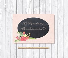 Will you be my bridesmaid Card Printable Will you by tranquillina
