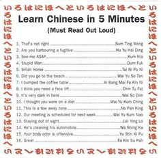 Learning Chinese in 5 minutes, since I worked at a Chinese restaurant this is all the more funny