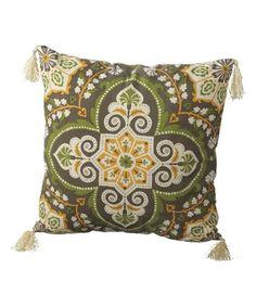 Green Medallion Tassel Throw Pillow | zulily