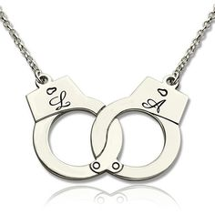 Valentine's Day Gift: Handcuff with Initial Silver Love Necklace Initial Necklace Silver, Diamond Solitaire Necklace, Silver Earrings, Silver Ring, Silver Jewelry, Jewlery, Knot Necklace, Love Necklace, Pendant Necklace