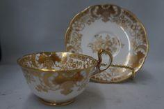 Vintage Royal Albert Crown China Decadent Gold on White Scalloped Tea Cup Saucer #RoyalAlbert