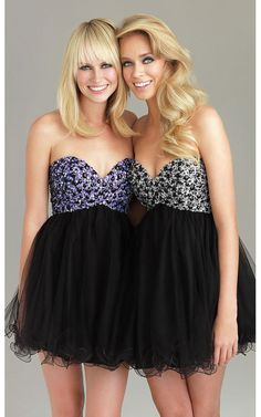 Show off your fun and playful side at your homecoming or prom in this super cute strapless party dress by Night Moves