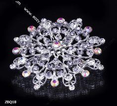 6.5x6.5cm Slivery Shining Fancy Flower Jewelry Crystal Rhinestone Pin Brooch