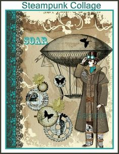 Steampunk Encouragement Collage for Journals, Card, Crafts Digital