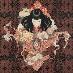 Takato Yamamoto, painters and illustrator. Highly detailed grotesque forms, entwined with soft, emotionless, doll-like figures. Themes of eroticism, bondage, metamorphosis, life and death. #takatoyamamoto  #山本タカト ( post by @audkawa )