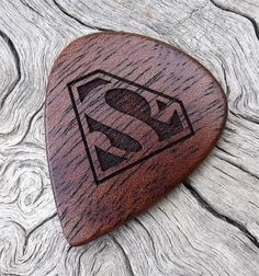 African Mahogany - Handmade Laser Engraved Premium Wood Guitar Pick - Superman Tribute