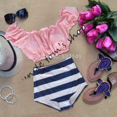 Online Shop cute pink Sleeve navy stripe HIGH WAISTED Bikini Set RETRO Swimsuits Suits Swimwear Vintage Bandeau M L XL bathing suit women|Aliexpress Mobile