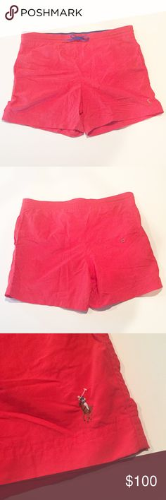 """Neon Red Vintage Ralph Lauren Polo Swim Trunks Shell is 100% Nylon. Brief (net liner) is 100% Polyester. Drawstring waist. Side pockets. Inside pocket. Back pocket with Velcro closure. Tag says Medium, although waist is more like a Large or XL, according to the size chart (see pic) - approximately 20"""" flat and unstretched (40"""" doubled). About a 5 1/4"""" inseam. Please make sure these measurements will work for you. Polo by Ralph Lauren Swim Swim Trunks"""
