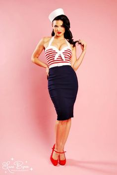 pinup girl fashions | Hello Sailor Nautical Wiggle Dress with Red Stripes
