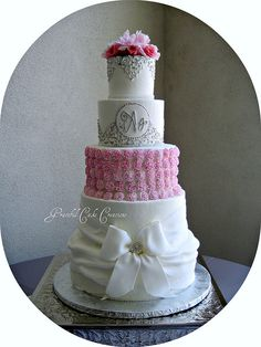 Elegant White, Pink and Silver Wedding Cake by Graceful Cake Creations, via Flickr