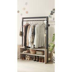 Penderie et étagère beige bois et métal H.171 x l.90 x P.40 cm