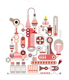 Chemical Laboratory - isolated vector illustration on white background.