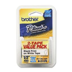 NON-LAMINATED TAPE 1/2IN 2/PK BLK/WHT by Brother. $13.60. BROTHER INTERNATIONAL CORPORAT M2312PK: 2-PACK - 1/2 BLACK ON WHITE FOR USE WITH PT-65 70 80 85 90 100 11. Save 39%!