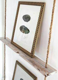 Wall decor with Hanging rope shelf ladder style. DIY Hanging Rope Shelf Ideas Featured on Completely Coastal. Green Design, Driven By Decor, Diy Hanging, Chic Beach House, Home Decor, Photo Displays, Luxury Interior Design, Wood Display, Rope Shelves