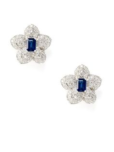 Piranesi  Sapphire & Diamond Flower Earrings