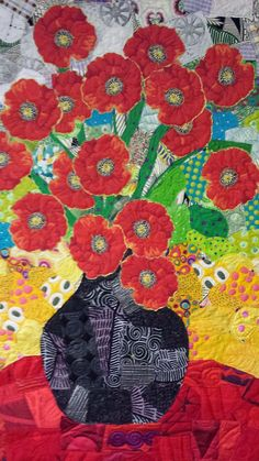 Poppies collage quilt by Freddy Moran. Photo by Judy Irish Wild Irish Rows Quilting Quilting Projects, Quilting Designs, Landscape Quilts, Landscape Art, Flower Quilts, Art Textile, Quilted Wall Hangings, Arte Floral, Fabric Art
