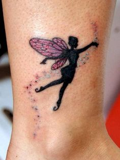 Silhouette Fairy With Pink Wings And Fairy Dust Tattoo Design For Leg