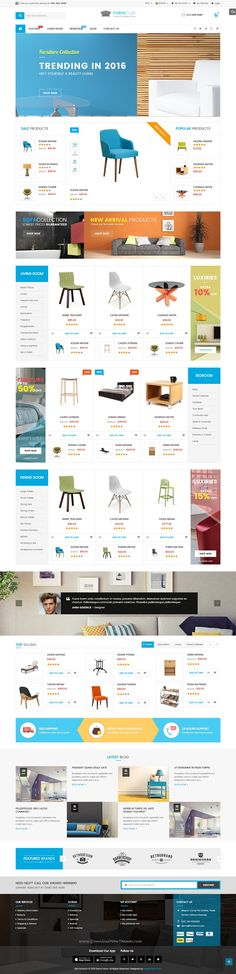 Furnicom modern, luxurious, and professional Premium Responsive #MagentoTemplate comes with 05 homepage layout styles, which tailored for furniture shop theme, interior stores eCommerce website.