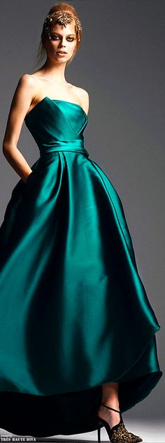 Alberta Ferretti Pre-Fall 2014. My Dramatic color in a simple gown (with pockets!) that has a fitted - but interesting - bodice and a fuller skirt. You know, for all of my ball gown events. I'd wear the shoes too.