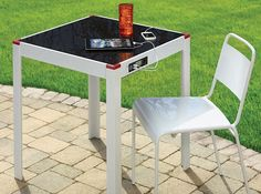 solar device charging patio table