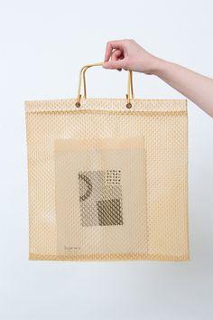 vintage plastic woven shopper
