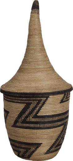 Africa   Old Tutsi Igeseke Basket with Tall Conical Lid. Burundi? Great Lakes of Central Africa   Before 1940   Grass and other fibre, Basketry