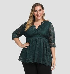 6896bf0d94d8 Women s Stretch Lined Plus Size Scalloped Lace Peplum Top Tunic