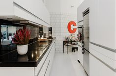 Home Design, Elegant Kitchen Interior Design With Striking White Concept Equipped Kitchen Island And Chrome Refrigerator And Tile Wall Aplication In Contemporary House Project: Stunning Contemporary House Design with a Striking White Interior White Apartment, Apartment Kitchen, Small Apartment Decorating, Apartment Design, Furniture Inspiration, Home Decor Inspiration, Decor Ideas, Wardrobe Door Designs, Elegant Kitchens