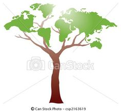 Vector - Worldmap on tree - stock illustration, royalty free illustrations, stock clip art icon, stock clipart icons, logo, line art, EPS picture, pictures, graphic, graphics, drawing, drawings, vector image, artwork, EPS vector art