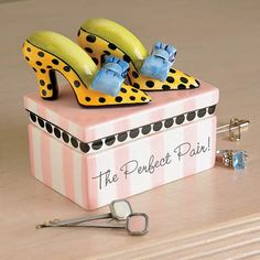 Shoe Trinket Box  Keep your treasures secure in this perfectly precious, whimsical box that's ideal for the shoe diva, but practical for any fashion savvy gal.