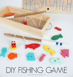 DIY wood fishing game with free plans.  Easy gift idea using scrap wood.