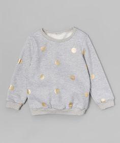 This Gray & Gold Polka Dot Fleece-Lined Sweatshirt - Toddler & Girls is perfect! #zulilyfinds
