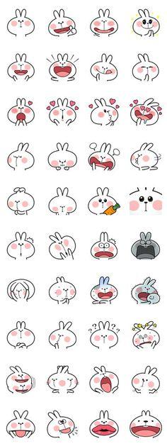 "Spoiled Rabbit ""Facial expression"" LINE stickers Emoji Drawings, Kawaii Drawings, Doodle Drawings, Animal Drawings, Drawing Animals, Bullet Journal Art, Bullet Journal Ideas Pages, Simple Doodles, Cute Doodles"