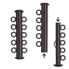 Clasp, 5-strand slide lock, electro-coated brass, black, 31x6mm tube. Sold per pkg of 2.