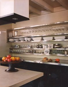Hanging Kitchen Shelves Suspended From Ceiling Contemporary