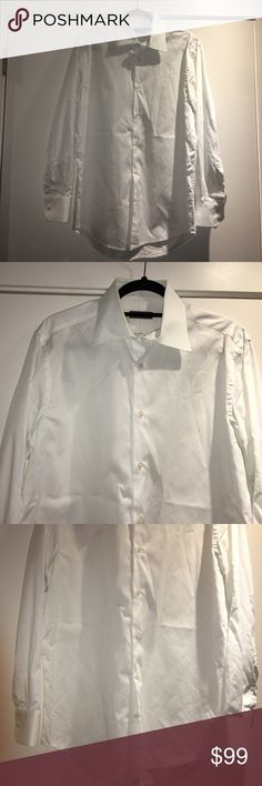 Men's Saks Fifth Ave Diamond Printed Dress Shirt White stylish textured shirt with unique diamond prints. Size 15 1/2. Made by Saks Fifth Avenue. 100% Cotton. Spread collar. Front button closure. Long sleeves with Barrel cuffs. Machine wash. Imported. Excellent, like new condition. Worn once. Saks Fifth Avenue Shirts Dress Shirts